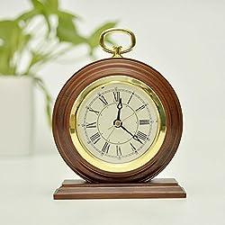 ECVISION Non-Ticking Silent Handmade Wood Alarm Clock Snooze Bedside Alarm Clock Decorative Desk Alarm Clock with Nightlight(Deep Woodgrain)