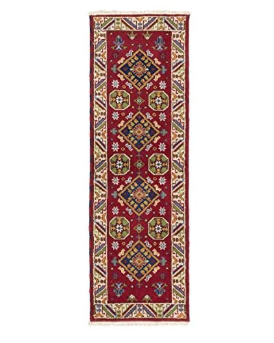 "Hand-Knotted Royal Kazak Wool Rug, Red, 2' 1"" x 6' 6"" Runner"