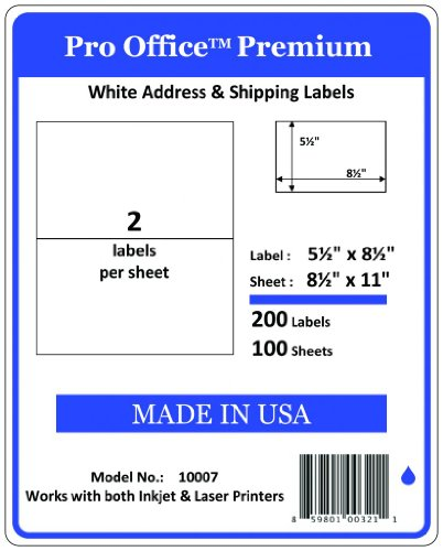 Pro Office Premium 200 Half Sheet Self Adhesive Shipping Labels for Laser Printers and Ink Jet Printers, White, Made in USA, 5.5 x 8.5 Inches, Pack of 200, Same Size As Avery 8126 and More