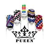 PUEEN 3D Nail Art Wheel 3mm Round Metal Studs Wheel 6 Neon and 6 Metallic Colours Gold & Silver for Mobiles & Nails Decorations Over 1200pcs