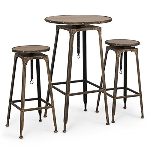 Belleze Adjustable Pub Table and Stools Vintage Antique Bistro High Industrial Chair, 3 Piece (Bistro Tables And Chairs compare prices)