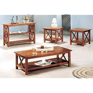 3pcs Cross Design Brown Finish Coffee & End Table Set