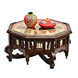 ExclusiveLane Octagonal Teak Wood Center Table With Dhokra And Warli Work - Unique Table / Home Décor / Home Furniture / Modern Center table / Wooden Table / Furniture Sale