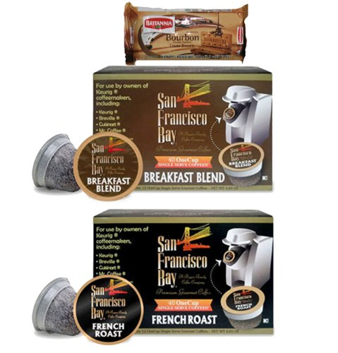 San Francisco Bay Coffee French Roast (40 cups) and Breakfast Blend (40 cups) OneCups for Keurig K-Cup Brewers + FREE BONUS Biscuits