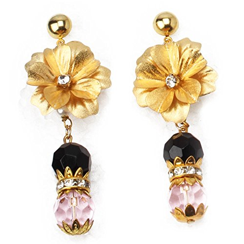 Aarya 24kt Gold Foil flower with pink and black crystal drop for women