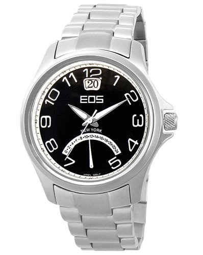 EOS New York Men's 15STBLK Traveler Metal Band Watch