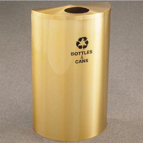 Glaro Single Purpose Half Round Recycling Receptacle, 10 Gallon, 18 Inch W, 4-7/8 Inch Dia. Hole, Plastic Message W/ Recycling Logo, Satin Brass Finish, Satin Brass Top