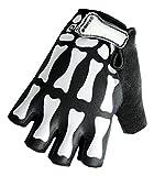 QEPAE Breathable Cycling Riding Racing Gloves Anti-Slip Half Finger Gloves Skeleton Bone Pattern, Large