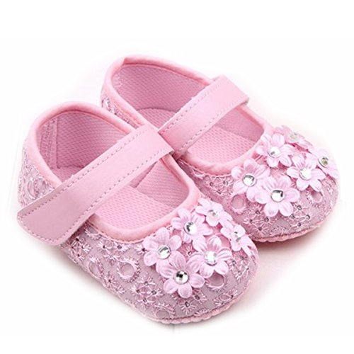 M2cbridge Baby Girl's Bow Dress Shoe Infant Toddler Pre-walker Crib Shoe (6-12 Months, Pink flower)