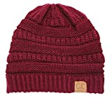 Thick Slouchy Knit Oversized Beanie Cap Hat, Burgundy