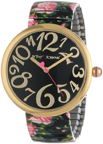 Betsey Johnson Women's BJ00039-05 Analog Printed Rose Expansion Band Watch