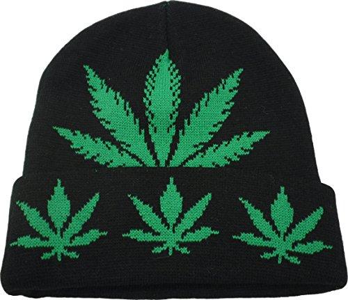 YCMI-Winter-Warm-Mickey-Hands-Letter-Kush-Weed-Marijuana-Beanies-Hat-Skully-09-black-and-green
