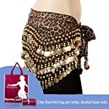 Bellyqueen Leopard Print Belly Dance Gold Coin Hip Scarf