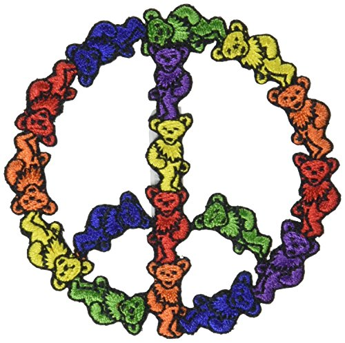 Application Grateful Dead Bear Peace Sign Patch