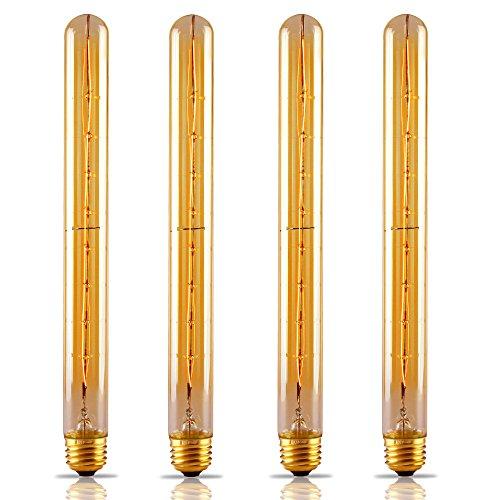 4 PACK #Long Filament# T30 (T10) Vintage Light Bulb, Flute Tungsten, Golden Tinted Glass, 300mm, 2500K Sunrise White, E26 Base for Pendant, Chandelier, Lantern, Wall Scone lighting 0