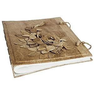 Album fotografico Fiore medio realizzato a mano in corteccia con sacca regalo in cotone, pagine in stile classico (28cm x 35cm)   Valutazioni Valutazione
