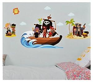 xxl wandtattoo sticker piraten und piratenschiff. Black Bedroom Furniture Sets. Home Design Ideas