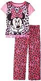 Disney Big Girls' Minnie Mouse Leopard-Print Short-Sleeve Top and Pant Pajama Set