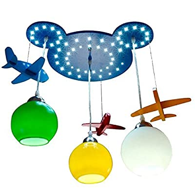 CHXDD Wooden Bear Head Kid's Room Pendant Lamps Cute Airplane Baby Room Ceiling Lamp Boy's Bedroom LED Chandelier