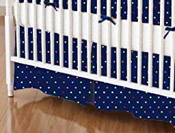 SheetWorld - Crib Skirt (28 x 52) - Primary Colorful Pindots Navy Woven - Made In USA