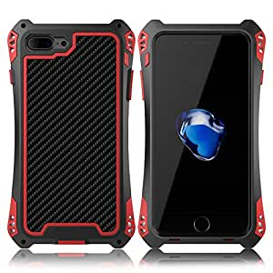 iPhone 7 case, Meiya Newest Waterproof Shockproof Aluminum Gorilla Glass Metal Military Heavy Duty Armor Bumper Cover Case for iPhone 7 4.7 Inch, Full Body Rugged Durable Case (Black+Red)