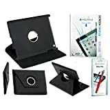 Rotating 360 Degree Leather Case Cover With Screen Protector And Stylus Pen For IPad 2/3/4 - Black