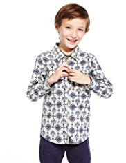 Autograph Pure Cotton Tile Print Shirt