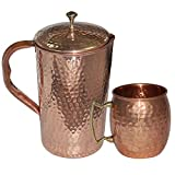 DakshCraft ® High Quality Pure Copper Jug With 1 Pure Copper Hammered Moscow Mule Mug