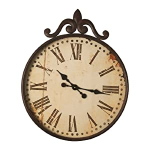 Wilco Imports Distressed Metal Wall Clock