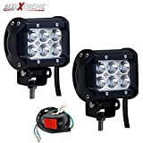 #9: AllExtreme Combo Pack of 2x 18 Watt 6 LED Motorcycle Fog Lamp DRL Fog Light & ON/OFF Button Switch for All Motorcycles, ATV, Boats and Cars