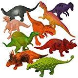 "Prextex Realistic Looking 7"" Dinosaurs Pack of 12 Large Plastic Assorted Dinosaur Figures With Book"