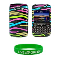 Black and Rainbow Zebra Design Snap On Hard Case for RIM BlackBerry Bold 9700 Phone, ATandT T-Mobile