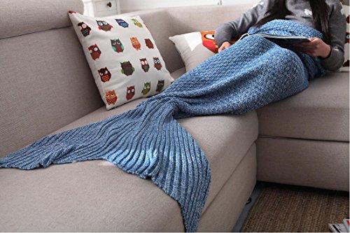 "Hughapy® Handmade Soft Crochet Sea Mermaid Tail Blanket for Teen/ Adult,(75""X32"",Blue)"