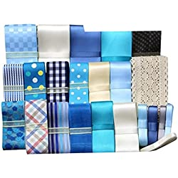 23pcs XUKE 23yd Blue Color Ribbon Set BOWS Polyester Grosgrain and Satin Printed Craft Sewing Ribbon Variety Pack Assortment, Multi