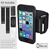 Mediabridge Sport Armband Kit for iPhone 5 / iPhone 5S - Includes 1 Slim Shell Case, 1 Silicone Case, 1 Tempered Glass Screen Protector, 1 Elastic Velcro Strap for Forearms & 1 Elastic Velcro Strap for Upper Arms (Black)