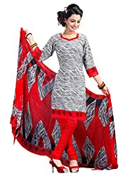 Charming White & Red Coloured Printed Dress Material