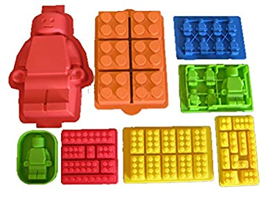 Candy and Cake Builder Block Molds 8pc Set High Quality Silicone - 2 Large Cake Molds 6 Candy Ice Molds
