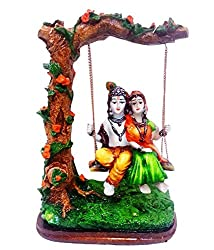 Karigaari Polyresine Multicolor Radha & Krishna Riding on Swing