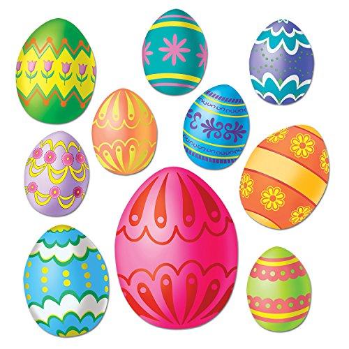 WeGlow International Easter Egg Cutouts (10-Pieces) Novelty