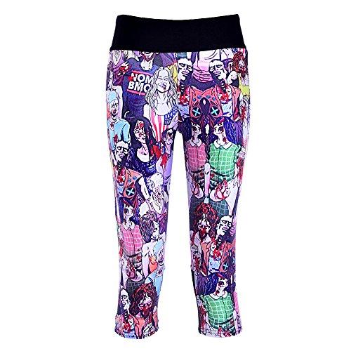 Women Pants Zombie Walking Dead Digital High Waist Side Pocket Phone Pants(M)