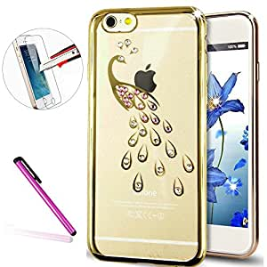 "iPhone 6 Plus Case ISADENSER Crystal Rhinestone Diamonds Rose Soft Frame TPU Silicone Bumper Cover for iPhone 6S Plus 5.5"" + 1pcs Stylus Pen + 1pcs Screen Protector Film Golden Peacock"