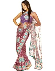 Exotic India Purple Passion Net Sari with All-Over Floral Ari Embroider - Purple