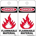 "NMC RPT71 ""DANGER - FLAMMABLE MATERIAL"" Accident Prevention Tag, Unrippable Vinyl, 3"" Length, 6"" Height, Black/Red on White (Pack of 25)"