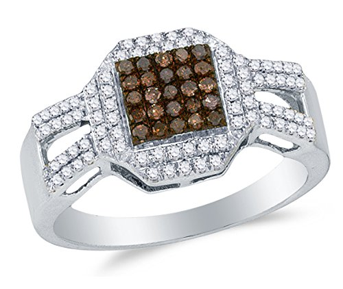 Size 7 - 10K White Gold Chocolate Brown & White Round Diamond Halo Circle Engagement Ring - Prong Set Square Princess Center Setting Shape (2/5 Cttw.)