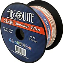 Absolute S1240 40-Feet 12 Gauge Car and Home Stereo Clear Speaker Wire