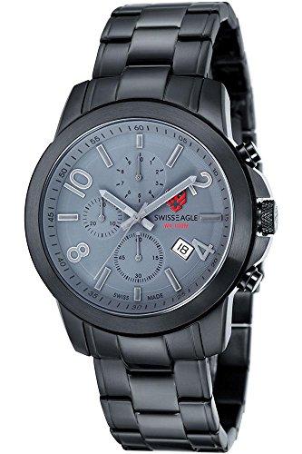 SWISS EAGLE SE-9054-88 - Reloj para hombres, correa de acero inoxidable