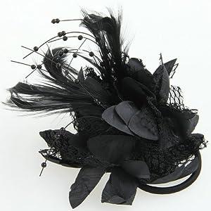 Haargummi Fascinator Feder Spitze Brosche Haarclip Haarklammer Clip NEU