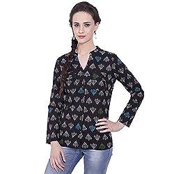 TUNTUK Women's Ananya Shirt Black Cotton Shirt