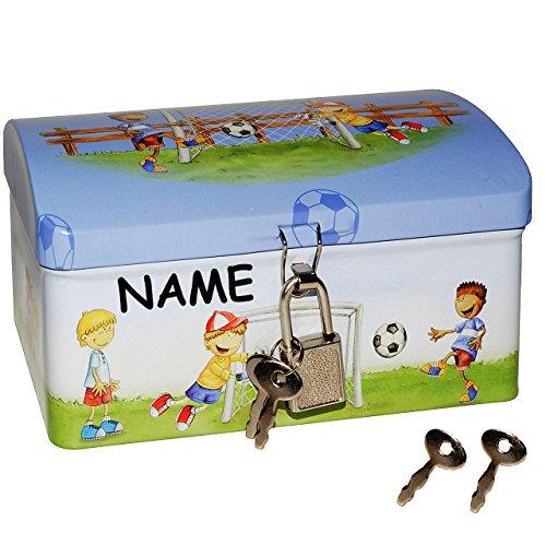 Fußball - Schatztruhe / Schatzkiste / Spardose - incl. Namen - mit Schlüssel und Schloß - Truhe Aufbewahrung für Jungen / Fussball / Fussballer - Kinder Schatzsuche / Sparbüchse
