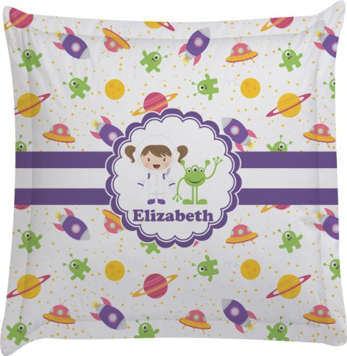 Girls Space Themed Personalized Euro Sham Pillow Case front-982497
